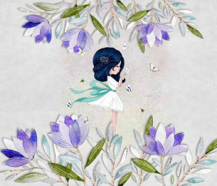 Pilttapeet Blue Haired Girl 2037-001