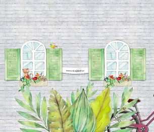 Pilttapeet Windows with Flowers 2062-001