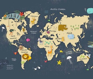 Pilttapeet Animals on the Map 2063-001