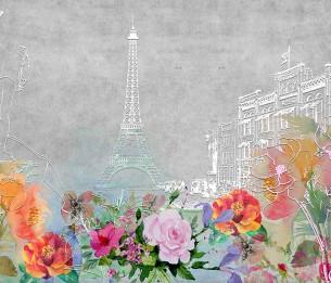 Pilttapeet Flowers and Eiffel 2069-001